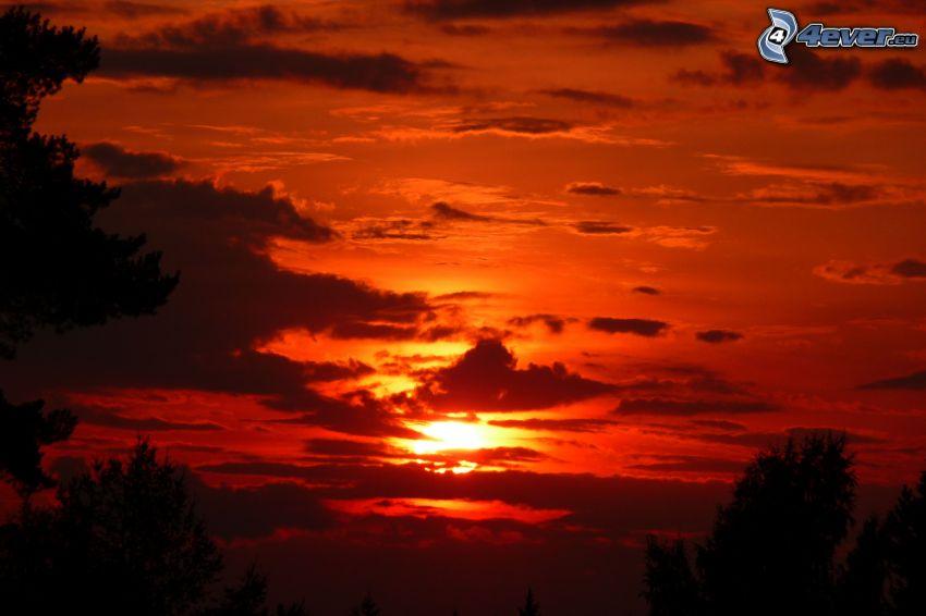 tramonto arancio, sole dietro le nuvole