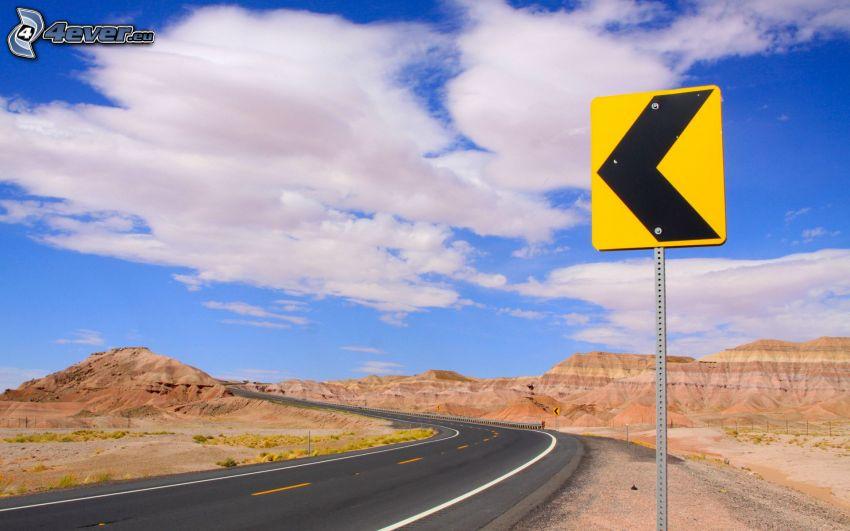 curva, strada, cartello stradale, nuvole