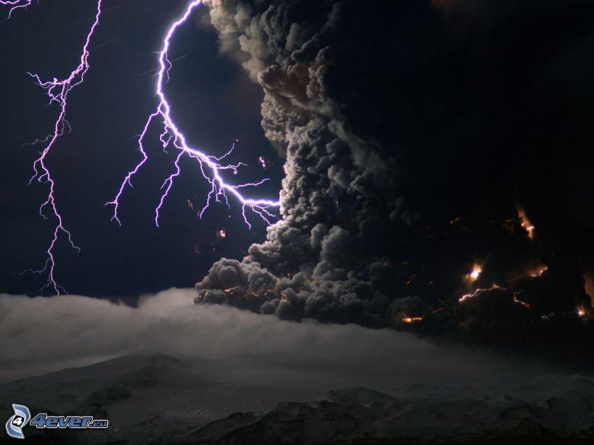 fulmini, vortice, nuvole scure