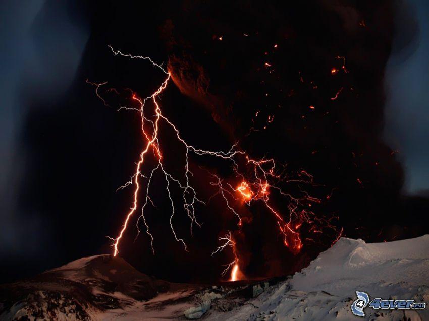 fulmini, vulcano