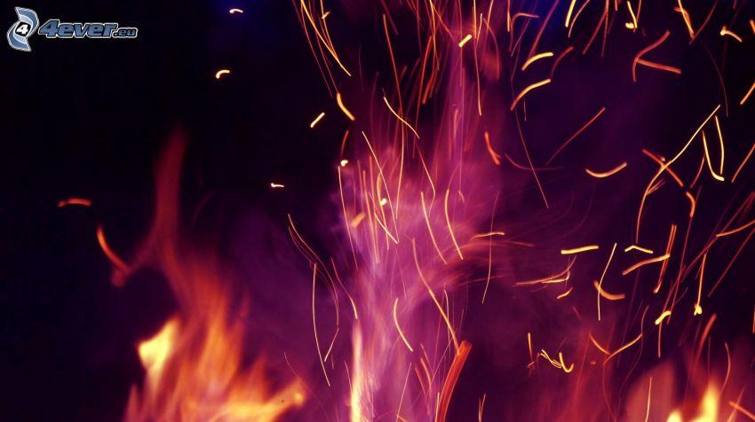 fuoco, scintillamento