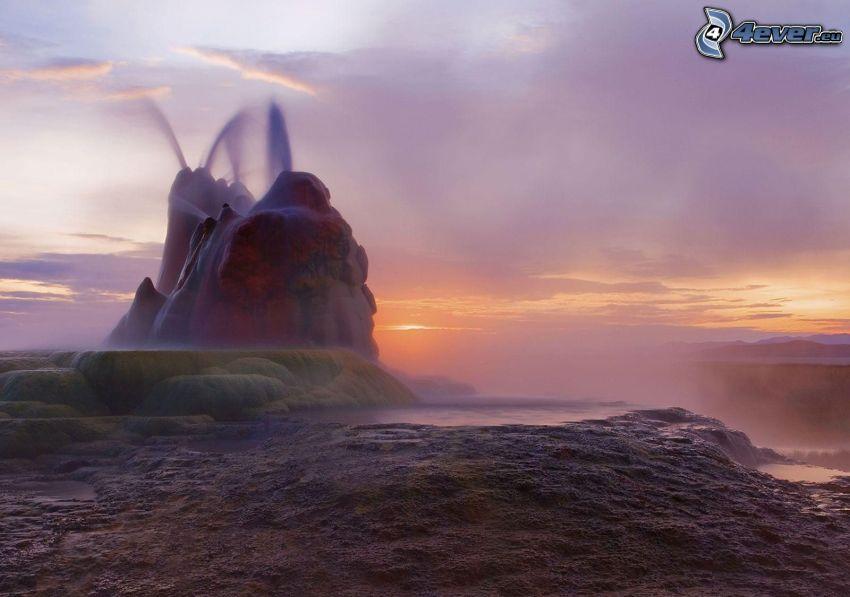 geyser, serata all'alba