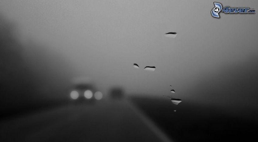 gocce d'acqua, vetro, nebbia, oscurità, strada