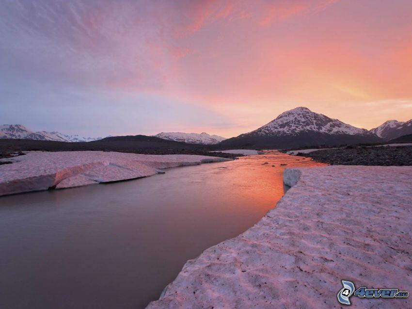 il fiume, ghiaccio, collina