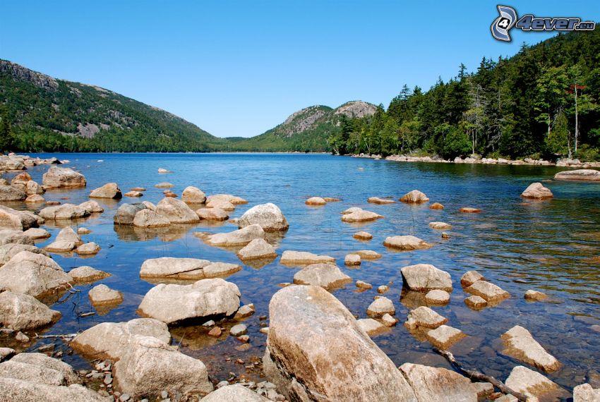 il fiume, pietre, montagna