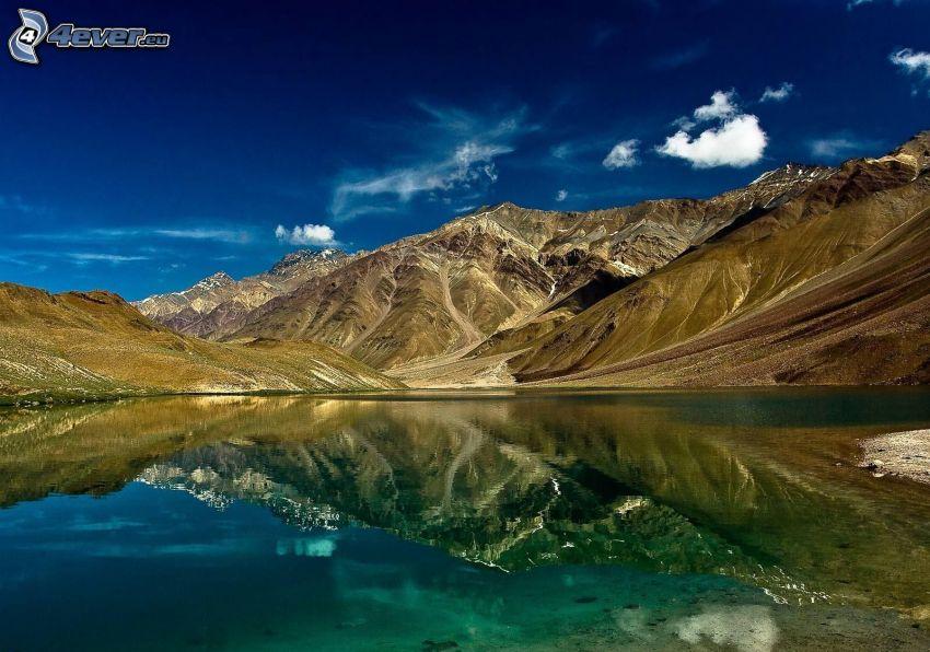 lago, colline, riflessione