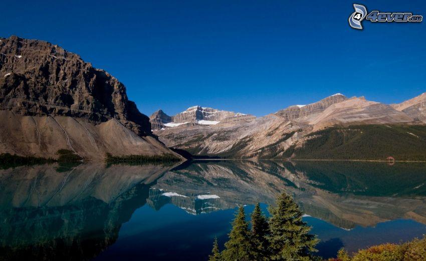 lago, colline rocciose, neve, riflessione