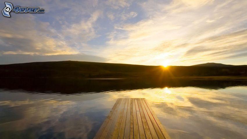 lago, levata del sole, molo di legno, montagna
