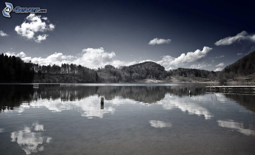 lago, montagna, nuvole