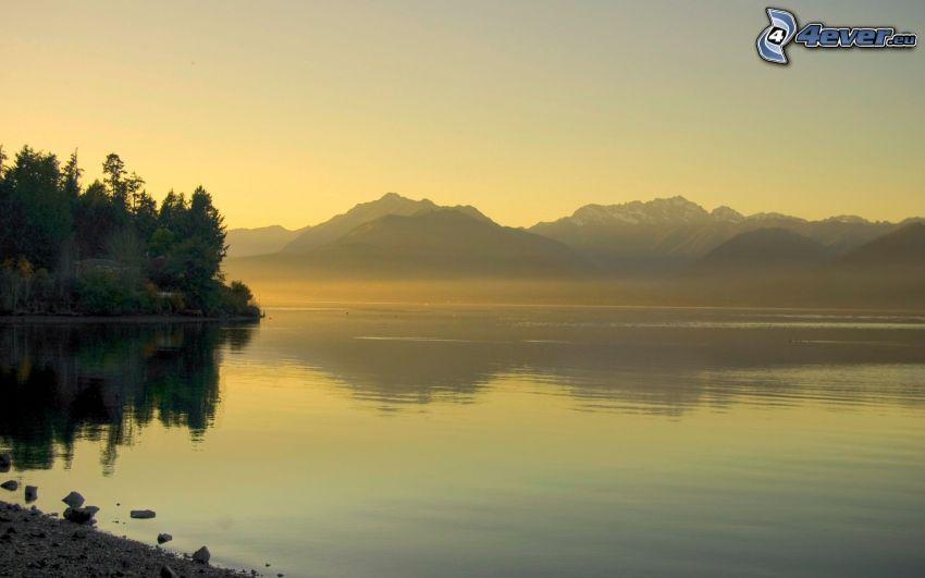 lago, montagna, riflessione, alberi
