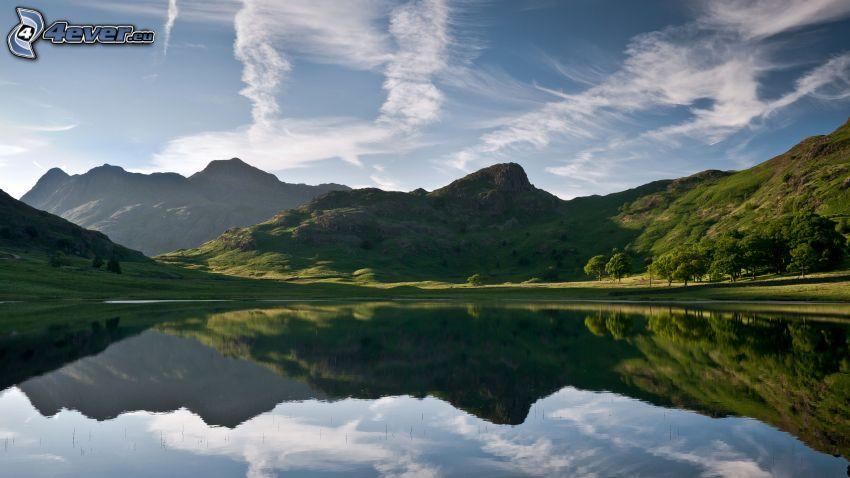lago, montagna, riflessione