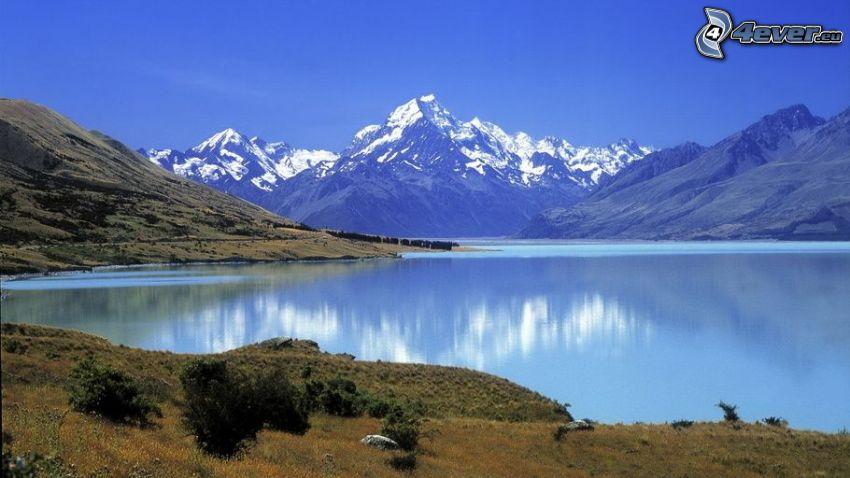 lago, montagne innevate