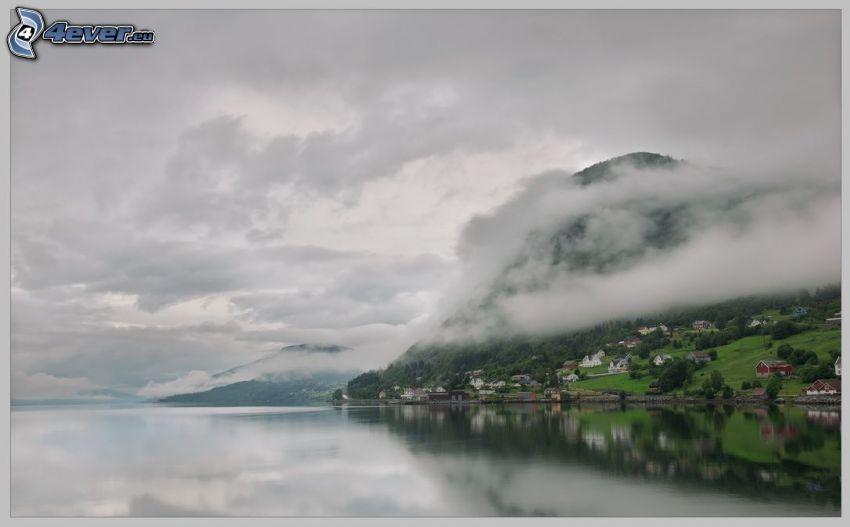 lago, nuvole, collina, case