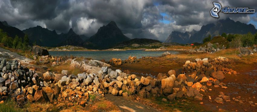 lago, pietre, montagne, nuvole