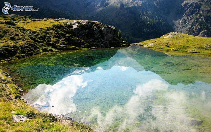 lago di montagna, montagne rocciose