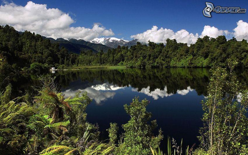 Lago nel bosco, riflessione, montagna innevata, nuvole