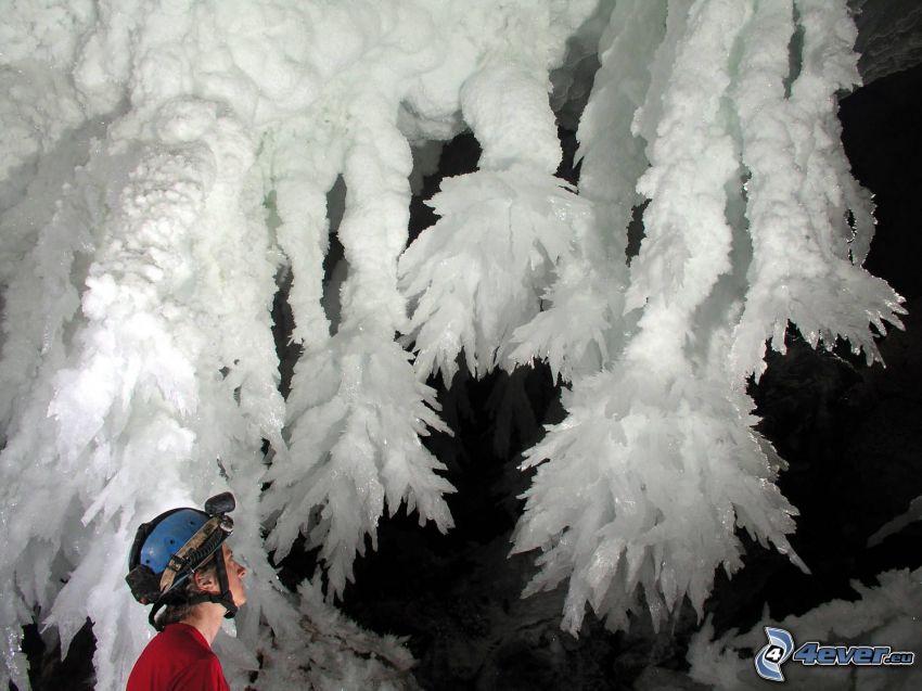 Lechuguilla, New Mexico, grotta, stalattiti, turista