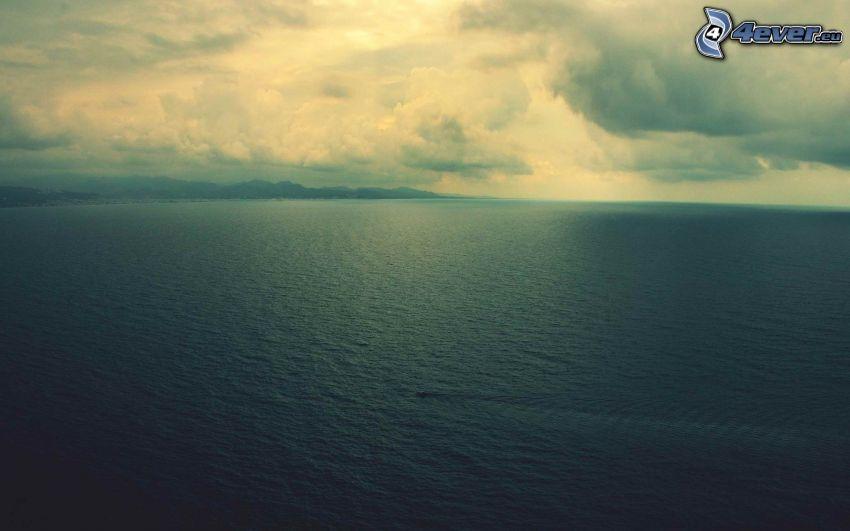 alto mare, nuvole, imbarcazione