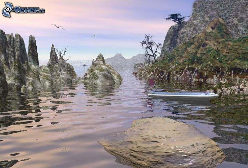 baia, rocce nel mare, imbarcazione