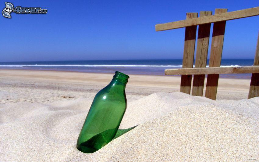 bottiglia, sabbia, mare