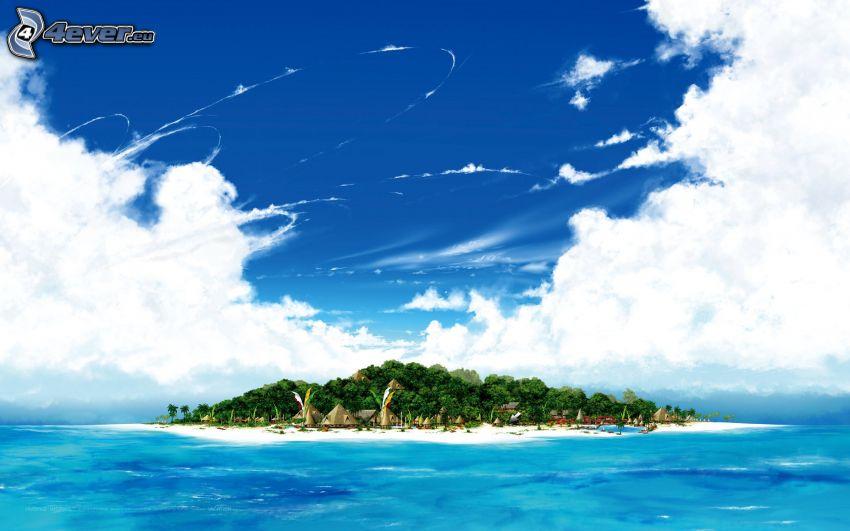 isola, alberi, mare, acqua blu, nuvole
