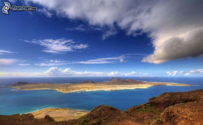 isola, mare, nuvola