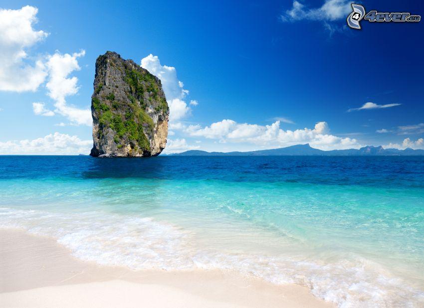 isola rocciosa, mare azzurro, Thailandia