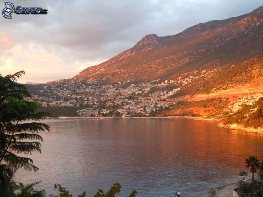 Kalkan, Turchia, tramonto, mare, città, collina