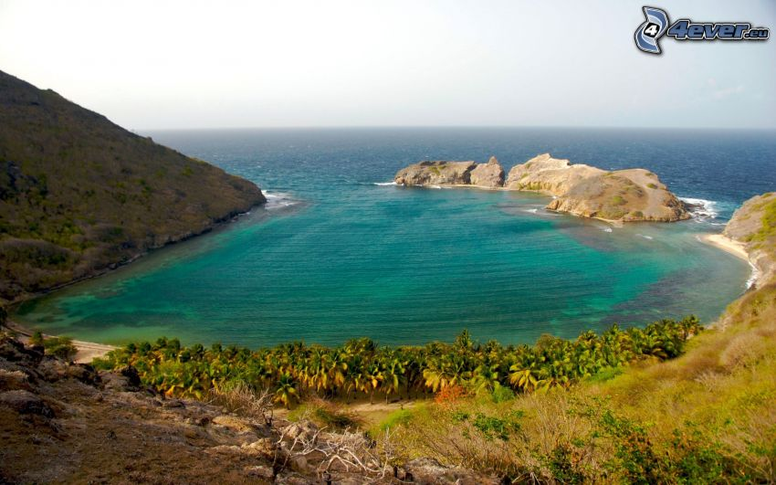 laguna, costa, vista sul mare