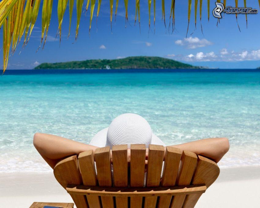 lettino, mare, isola, riposo