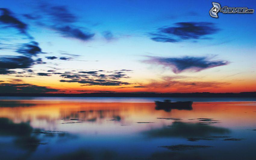 mare, cielo di sera, cielo arancione