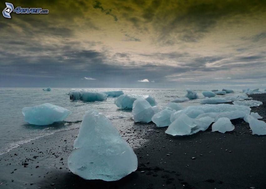 mare, lastre di ghiaccio, alto mare