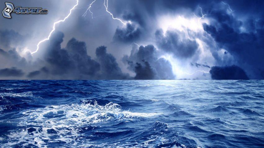 mare, nuvole, fulmini