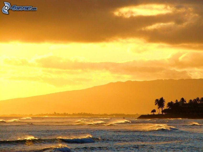 onde sulla costa, mare, spiaggia al tramonto, cielo arancione