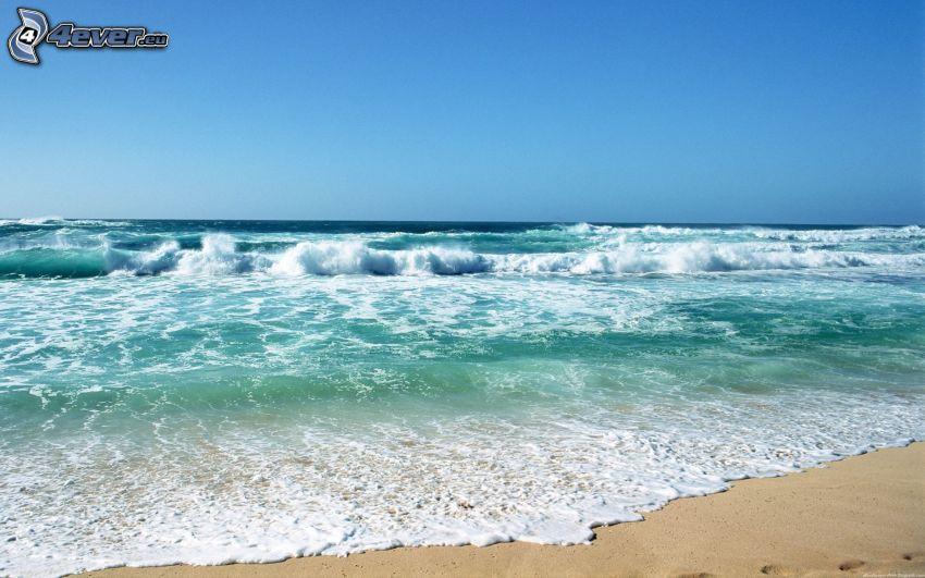 onde sulla costa, mare verde, spiaggia