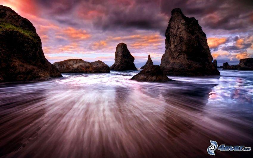 rocce nel mare, HDR