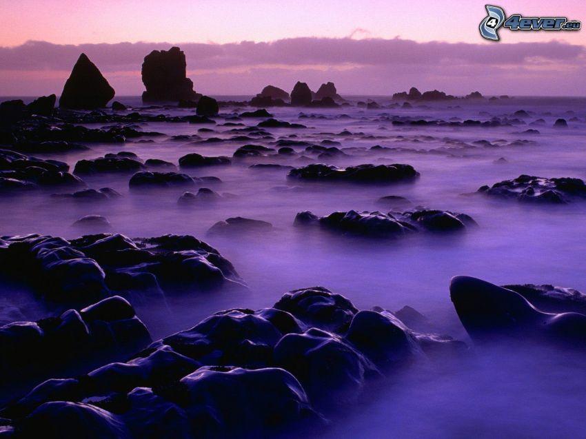 rocce nel mare, tramonto viola