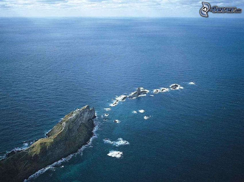 scogliera, alto mare, oceano