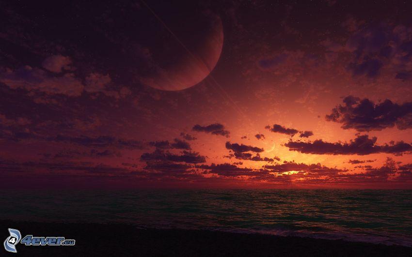 Scuro tramonto, mare, pianeti, cielo di sera