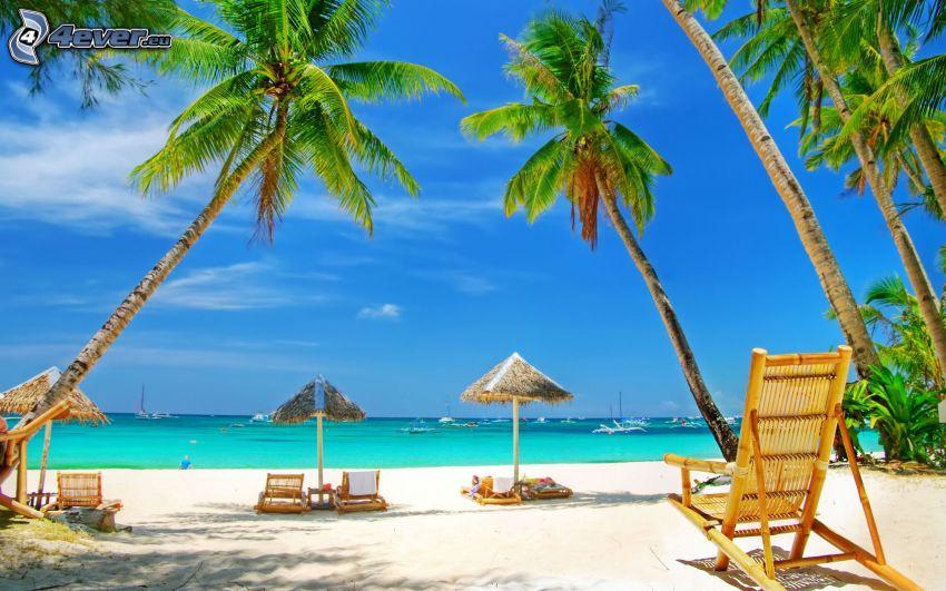 sedie a sdraio sulla spiaggia, palme, mare azzurro d'estate