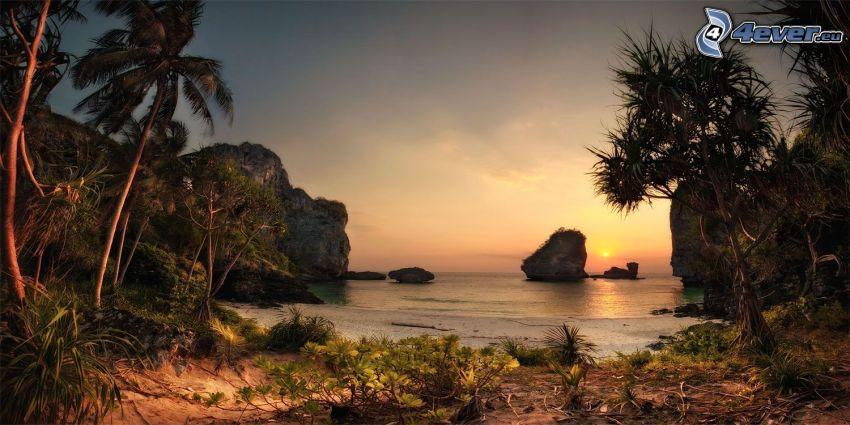 Spiaggia al tramonto, palme, rocce nel mare