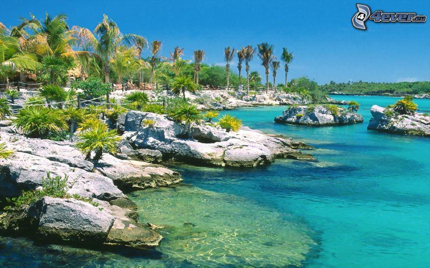 spiaggia rocciosa, spiaggia tropicale, mare azzurro