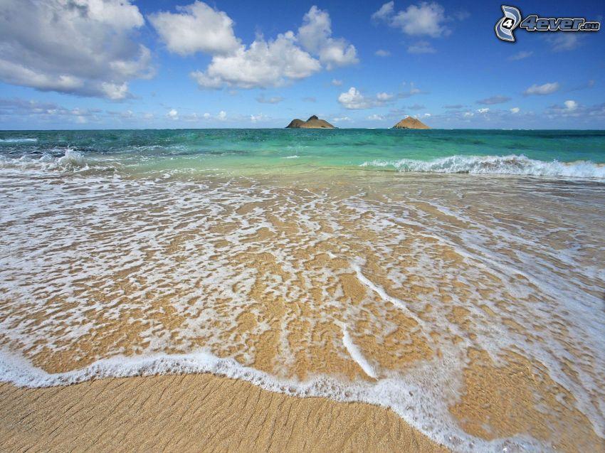 spiaggia sabbiosa, onde sulla costa, mare, vacanze