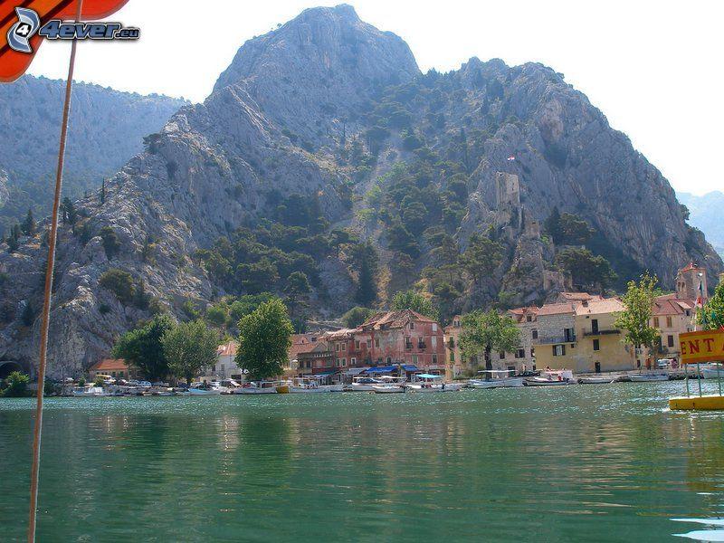 villaggio, costa, panfilo, mare, collina rocciosa