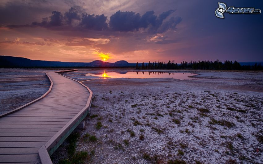 molo di legno, tramonto, paludi