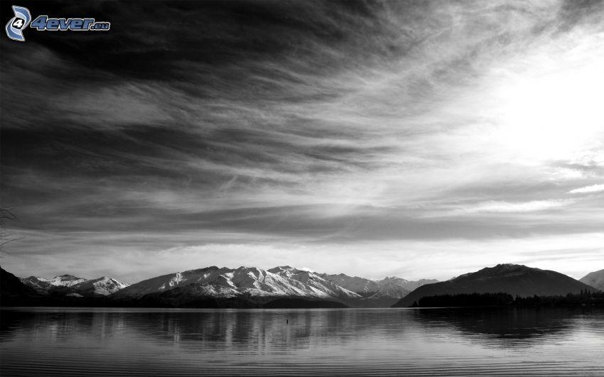 montagna, cielo, lago, foto in bianco e nero