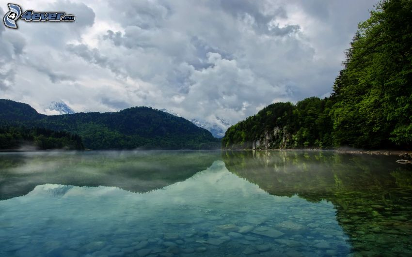 montagne, lago, riflessione
