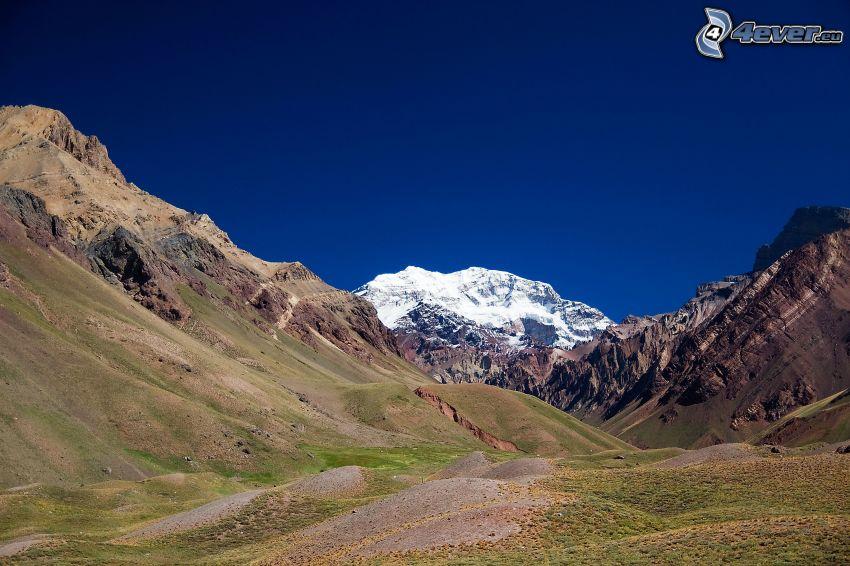 Aconcagua, montagne rocciose, valli