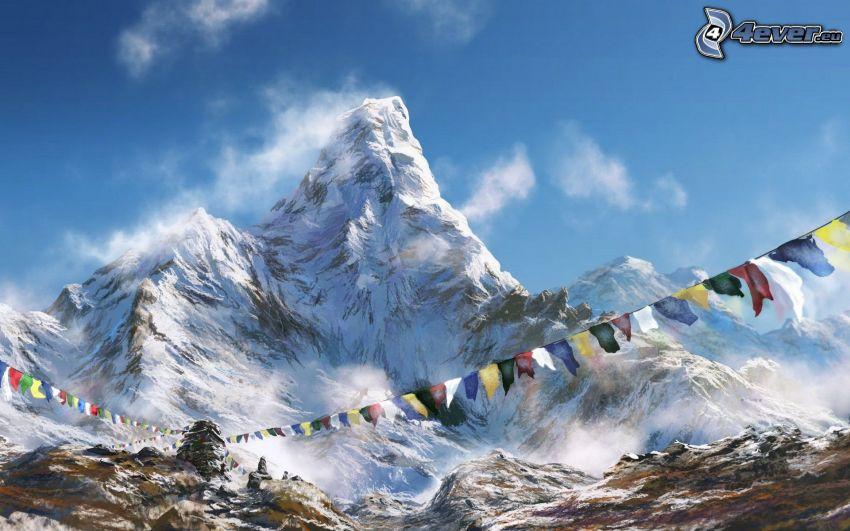 Cervino, montagna innevata, cartone animato