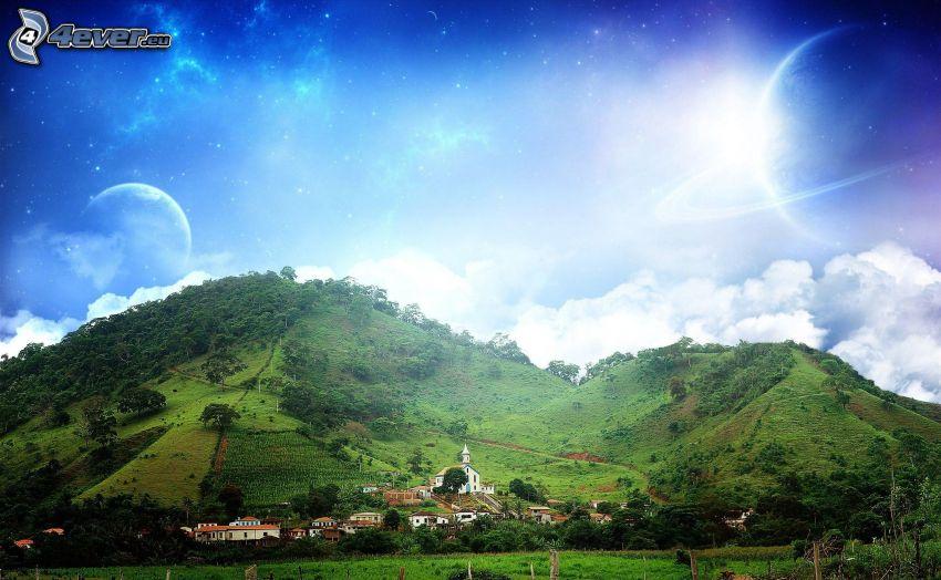 colline, pianeti, arte digitale
